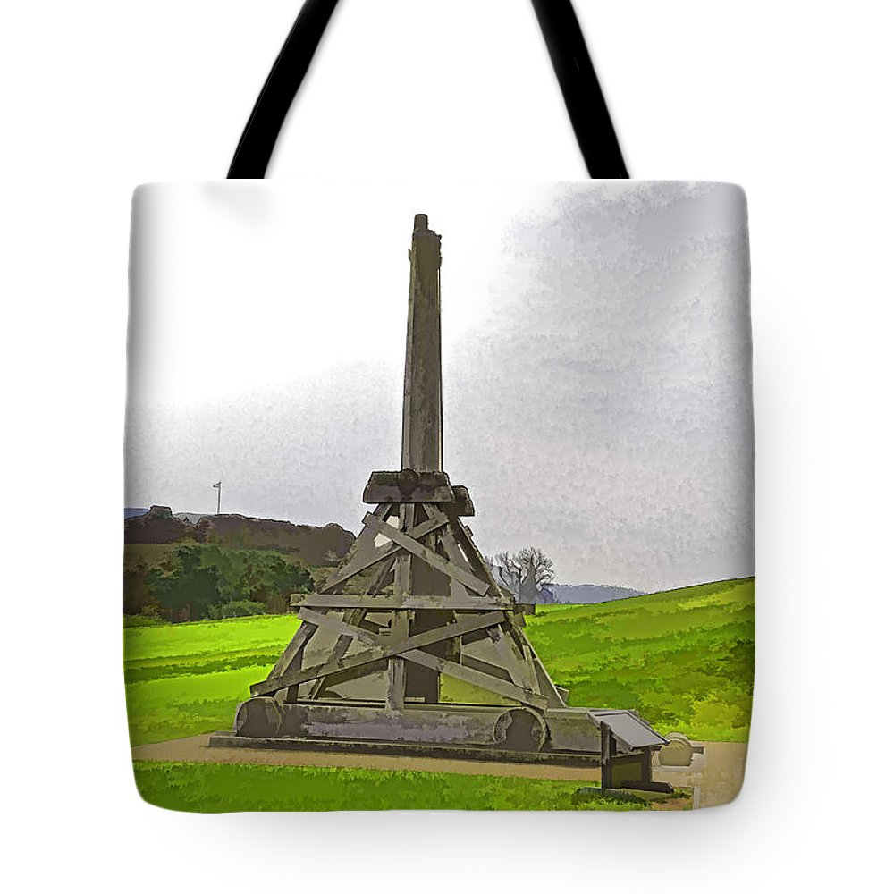 Castle Tote Bag featuring the digital art Replica Of Wooden Trebuchet And The Ruins Of The Urquhart Castle by Ashish Agarwal