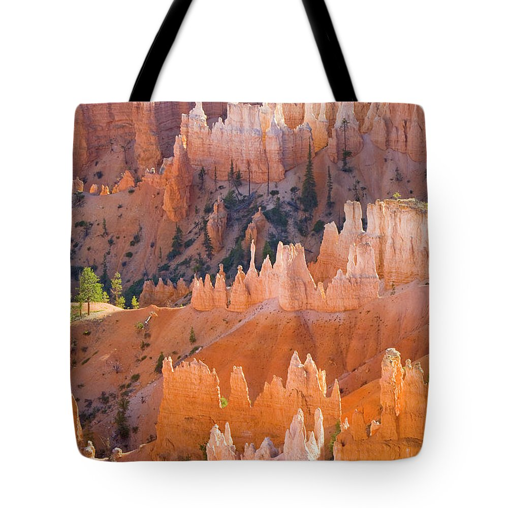 00431147 Tote Bag featuring the photograph Sandstone Hoodoos In Bryce Canyon by Yva Momatiuk John Eastcott