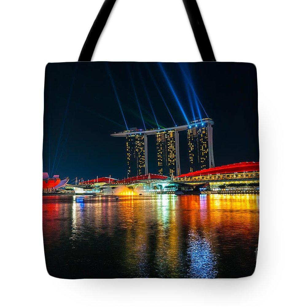 Night Tote Bag featuring the photograph Singapore City Skyline by Luciano Mortula