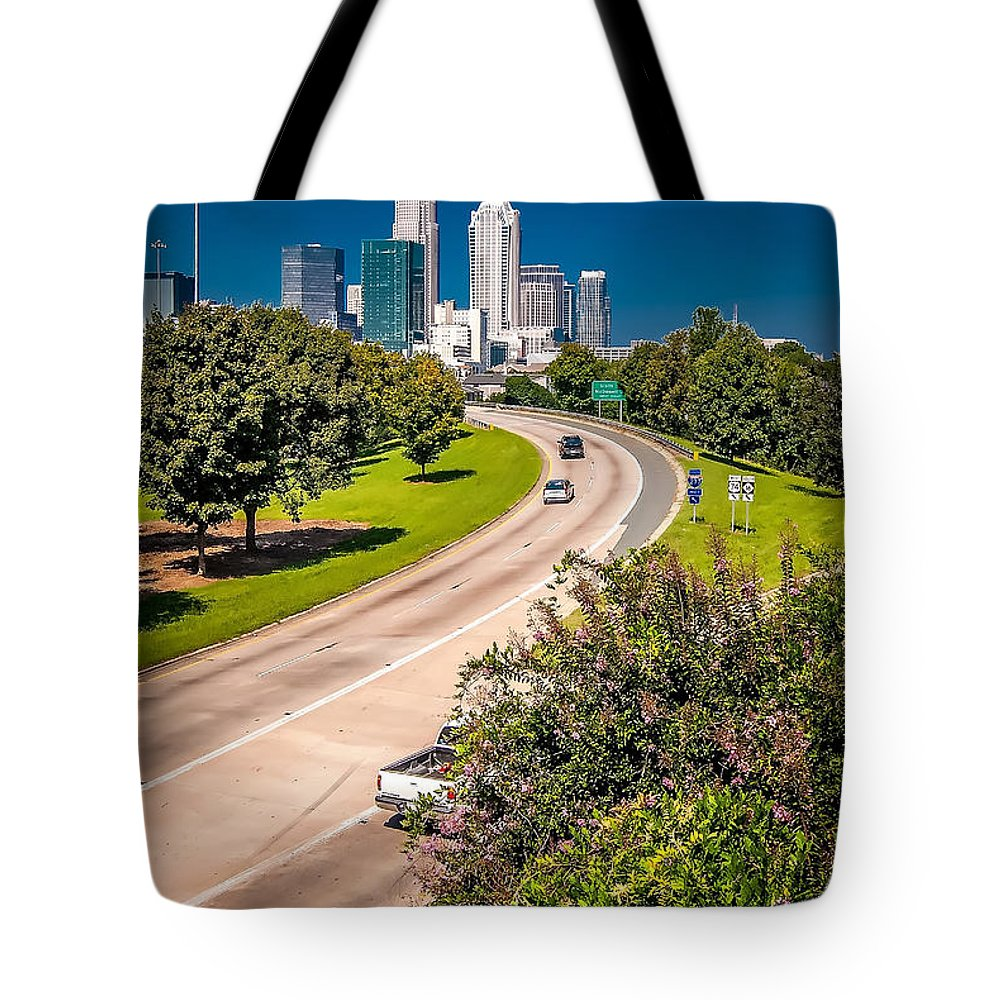 North Tote Bag featuring the photograph Skyline Of Uptown Charlotte North Carolina by Alex Grichenko