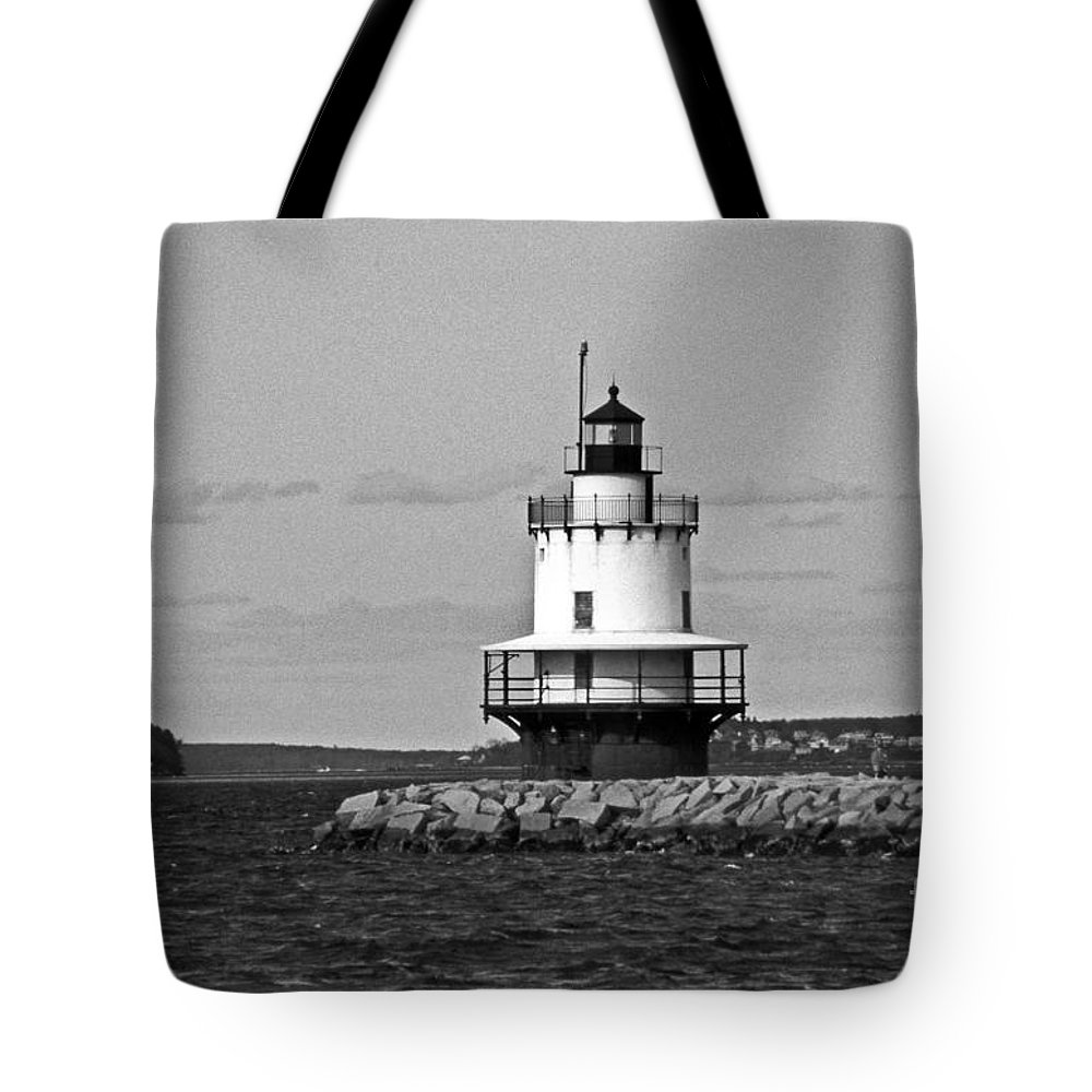 Lighthouses Tote Bag featuring the photograph Spring Point Ledge Lighthouse by Skip Willits