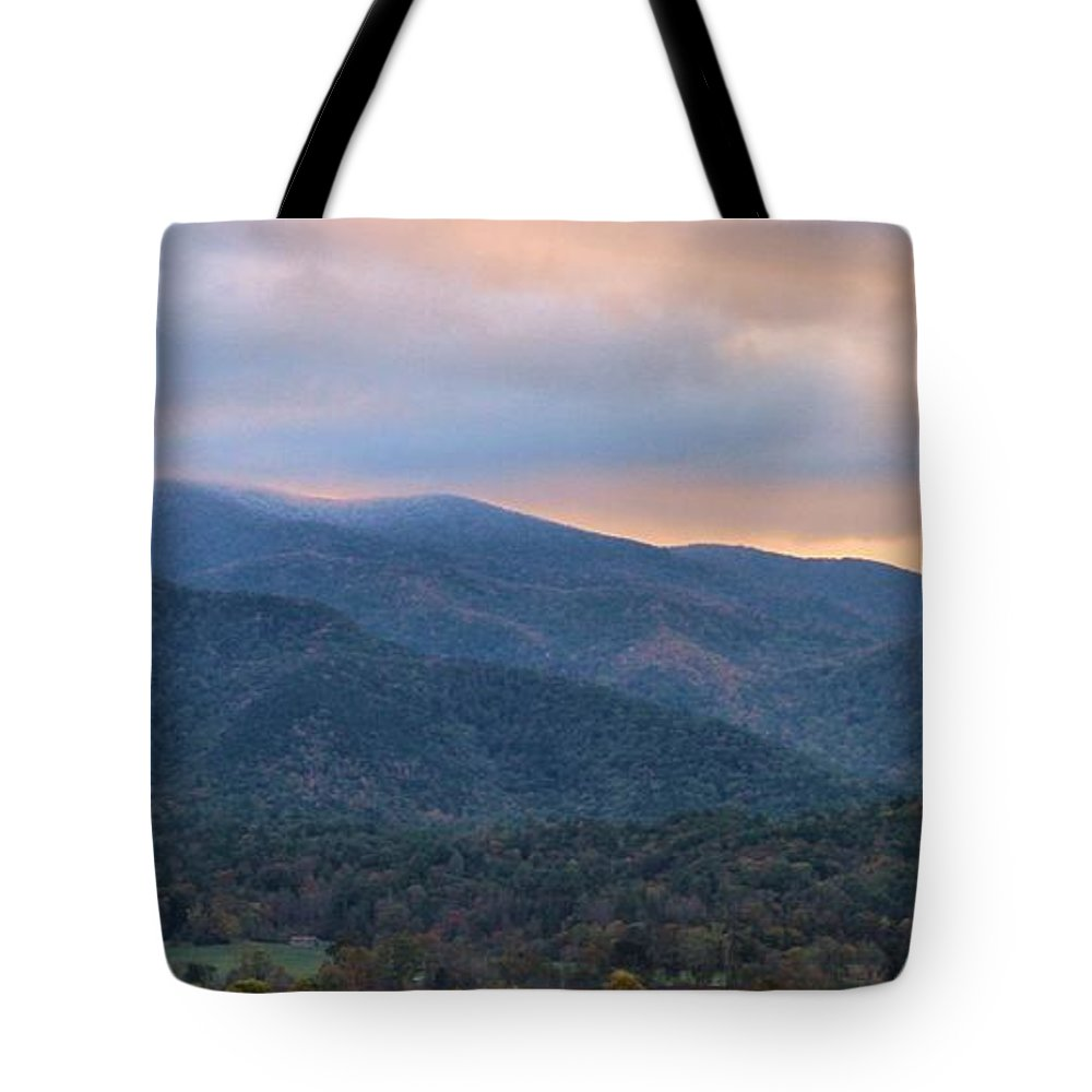 Sunrise In Cades Cove Tote Bag featuring the photograph Sunrise In Cades Cove by Dan Sproul