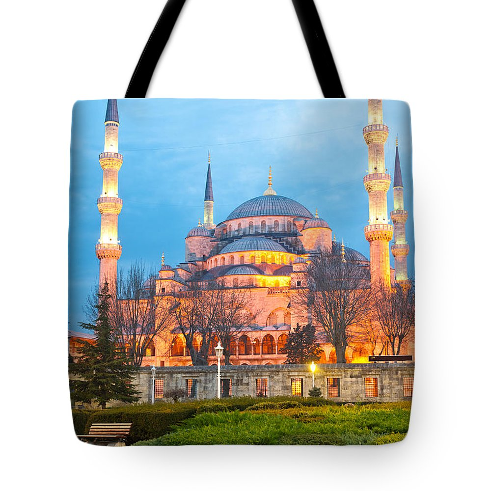 Arabic Tote Bag featuring the photograph The Blue Mosque - Istanbul by Luciano Mortula