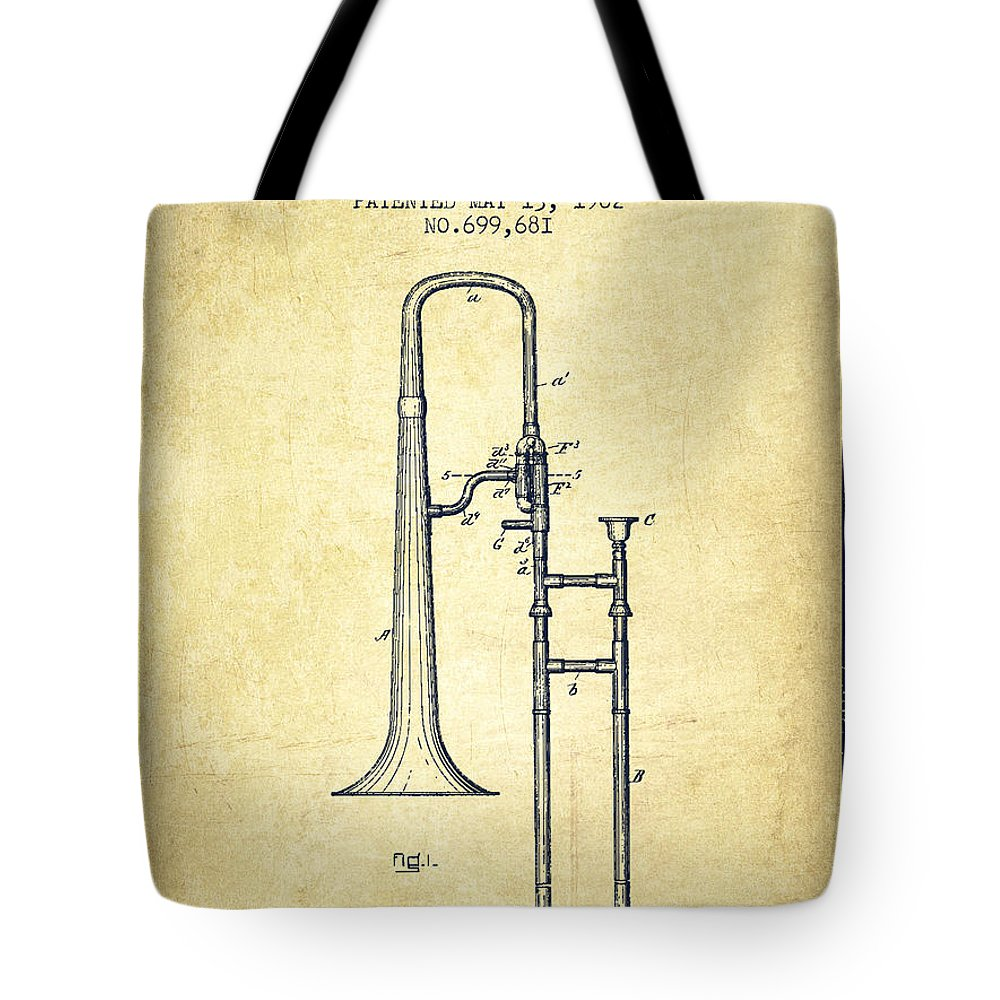 Trombone Tote Bag featuring the digital art Trombone Patent From 1902 - Vintage by Aged Pixel