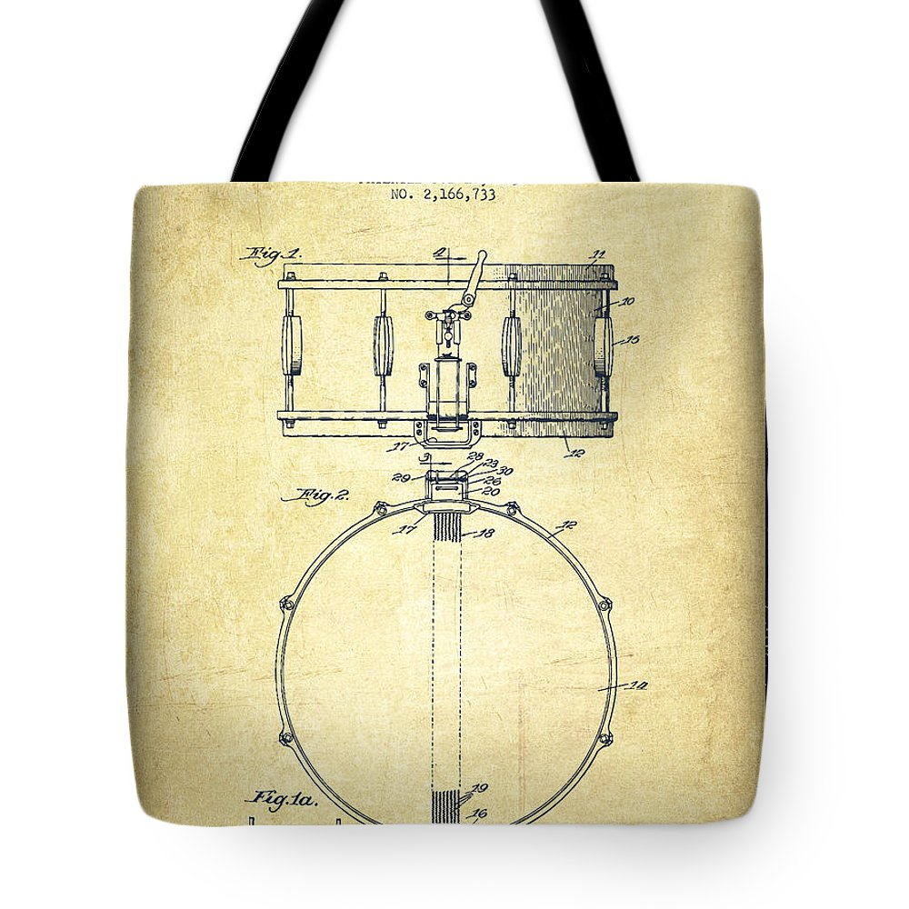 Snare Drum Tote Bag featuring the digital art Snare Drum Patent Drawing From 1939 - Vintage by Aged Pixel