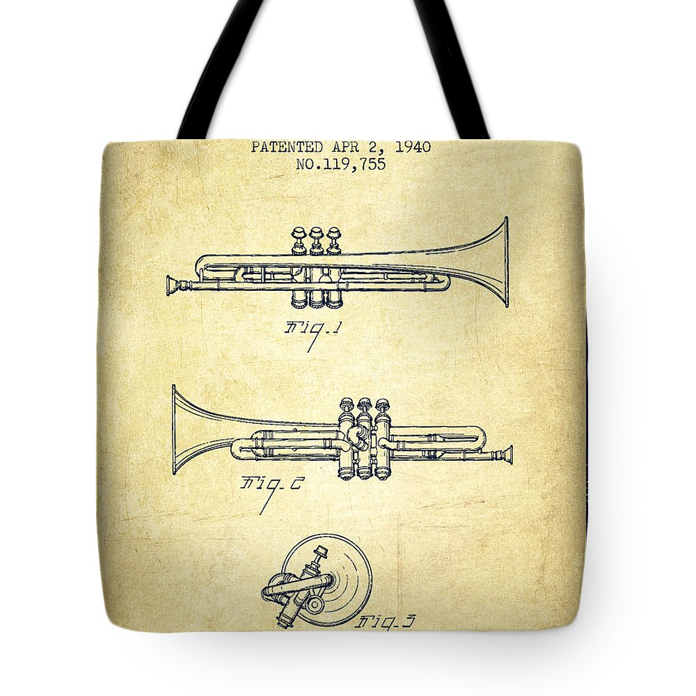 Trumpet Tote Bag featuring the digital art Vintage Trumpet Patent From 1940 - Vintage by Aged Pixel