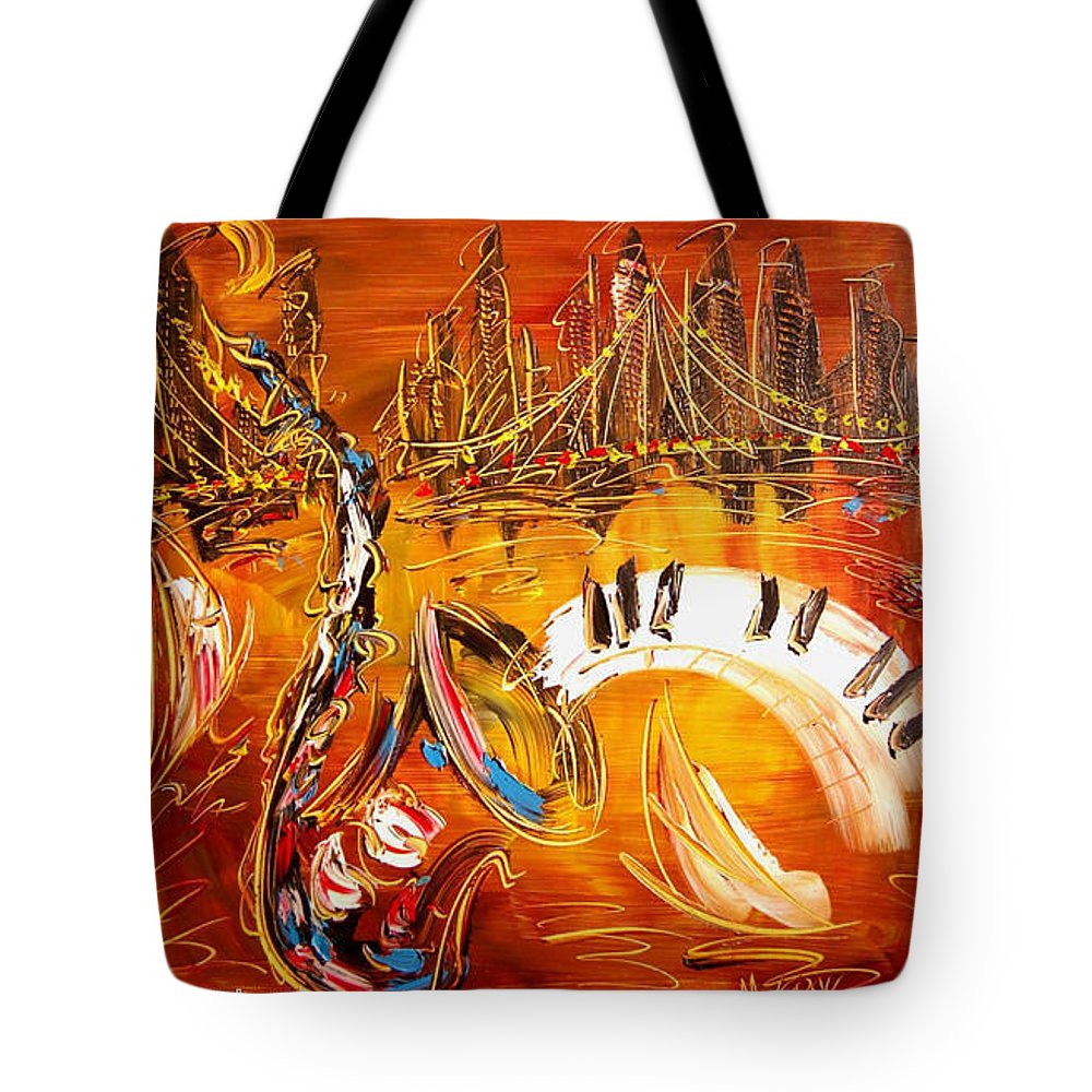 Tote Bag featuring the painting Jazz by Mark Kazav