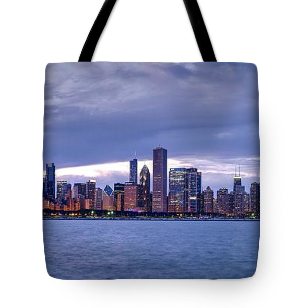 Skyline Tote Bag featuring the photograph Chicago Skyline At Dusk by Patrick Warneka