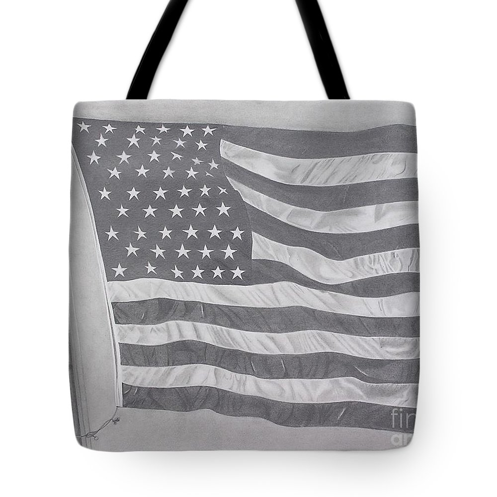 Flag Tote Bag featuring the pastel 50 Stars 13 Stripes by Wil Golden