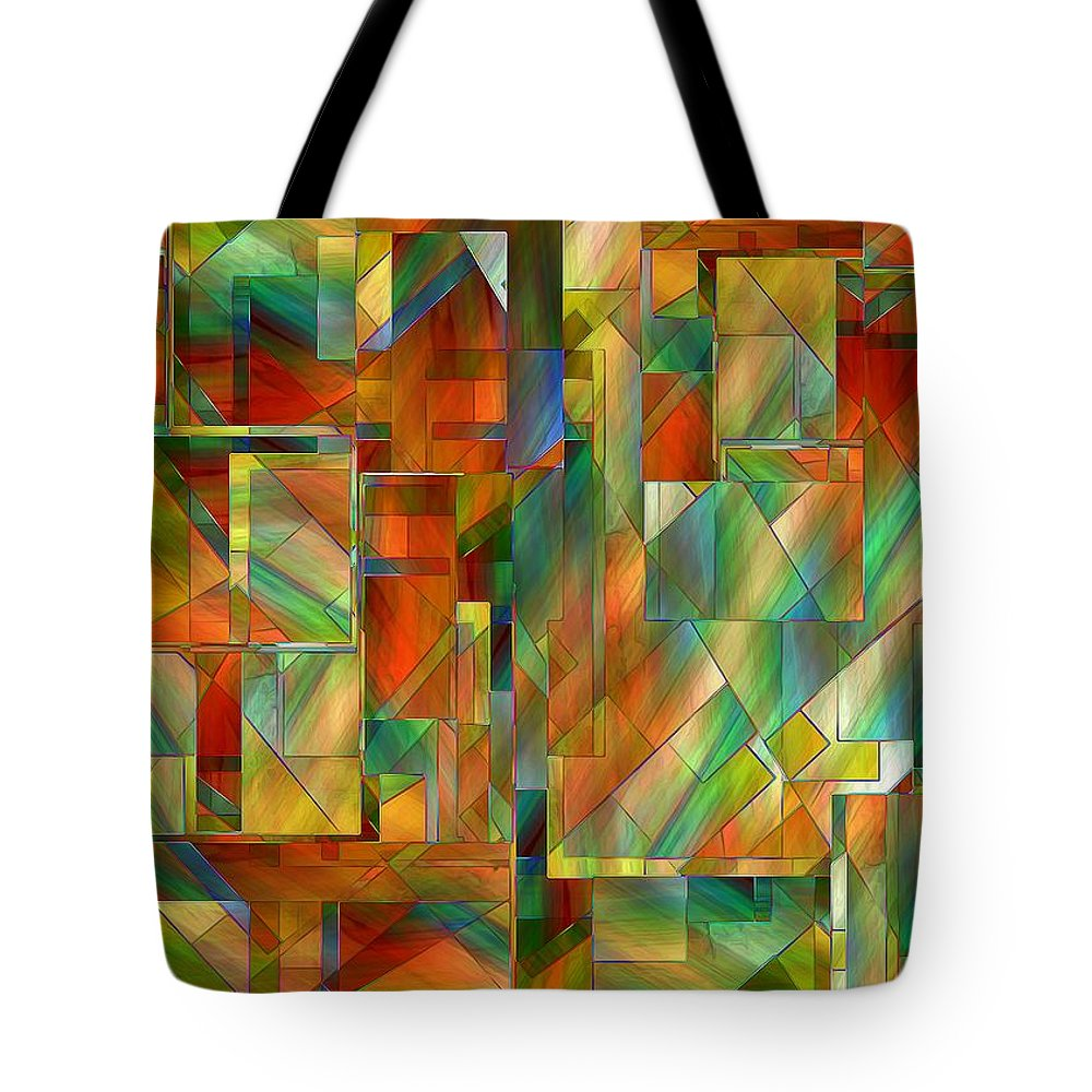 Abstract Tote Bag featuring the painting 53 Doors by RC DeWinter