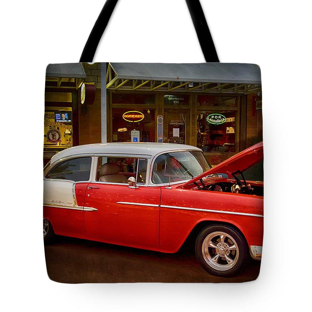 55 Chevy Belair Tote Bag featuring the photograph 55 Chevy Belair by Saija Lehtonen
