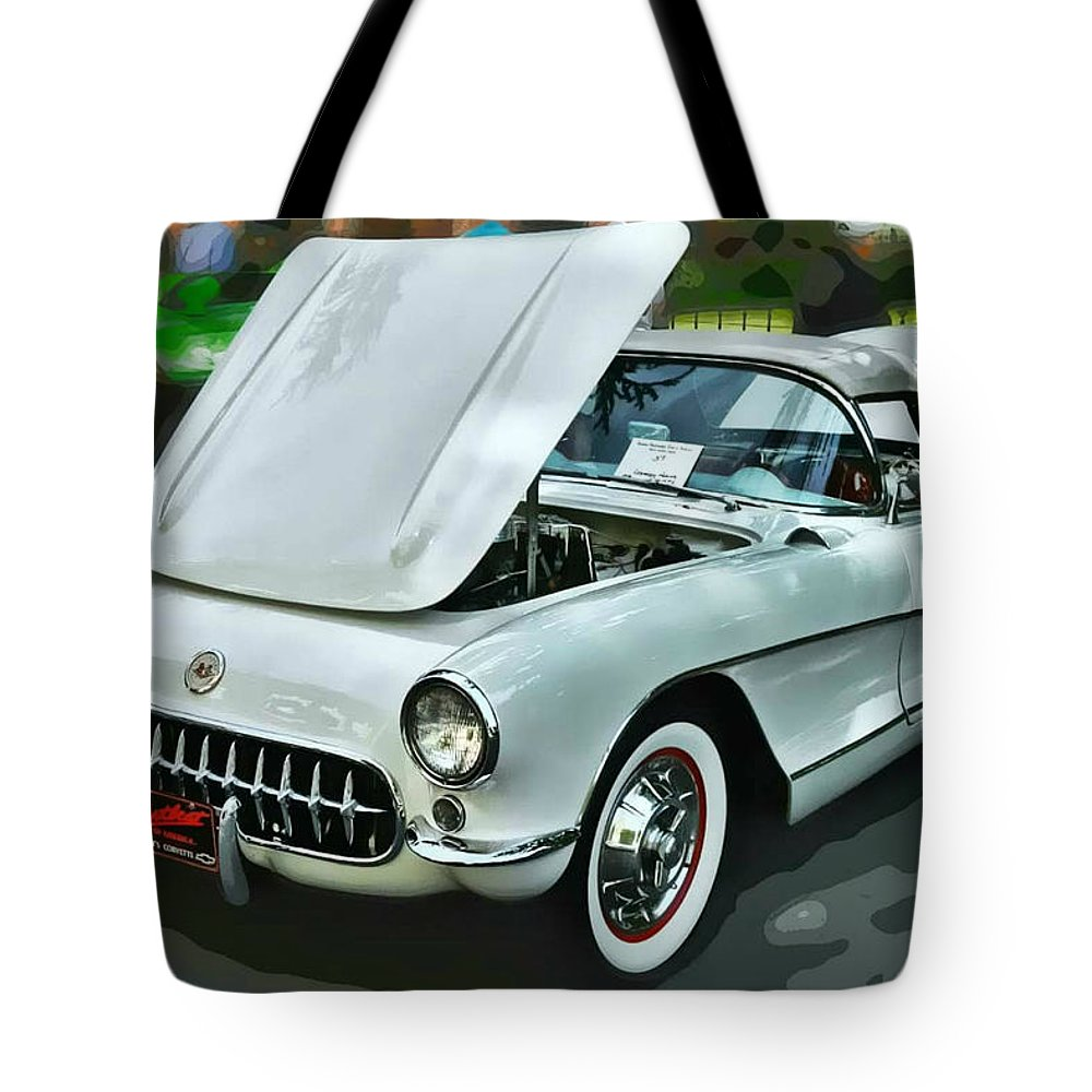 Victor Montgomery Tote Bag featuring the photograph '56 Corvette by Victor Montgomery