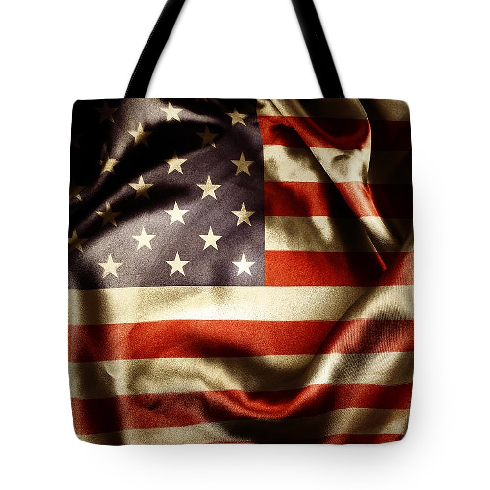 American Flag Tote Bag featuring the photograph American Flag by Les Cunliffe