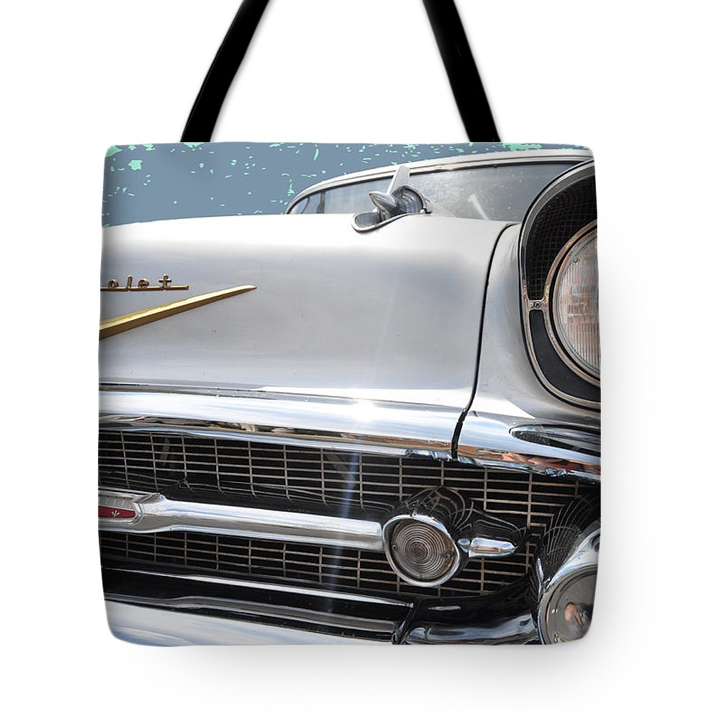 Outdoors Tote Bag featuring the photograph 57 Bel Air Hood Rockets by Paulette B Wright
