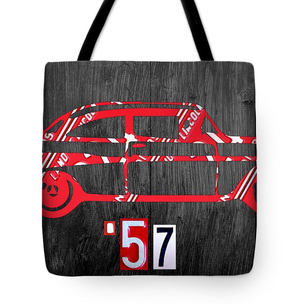 57 Chevy License Plate Art 1957 Car Auto License Plate Map Tote Bag featuring the mixed media 57 Chevy License Plate Art by Design Turnpike