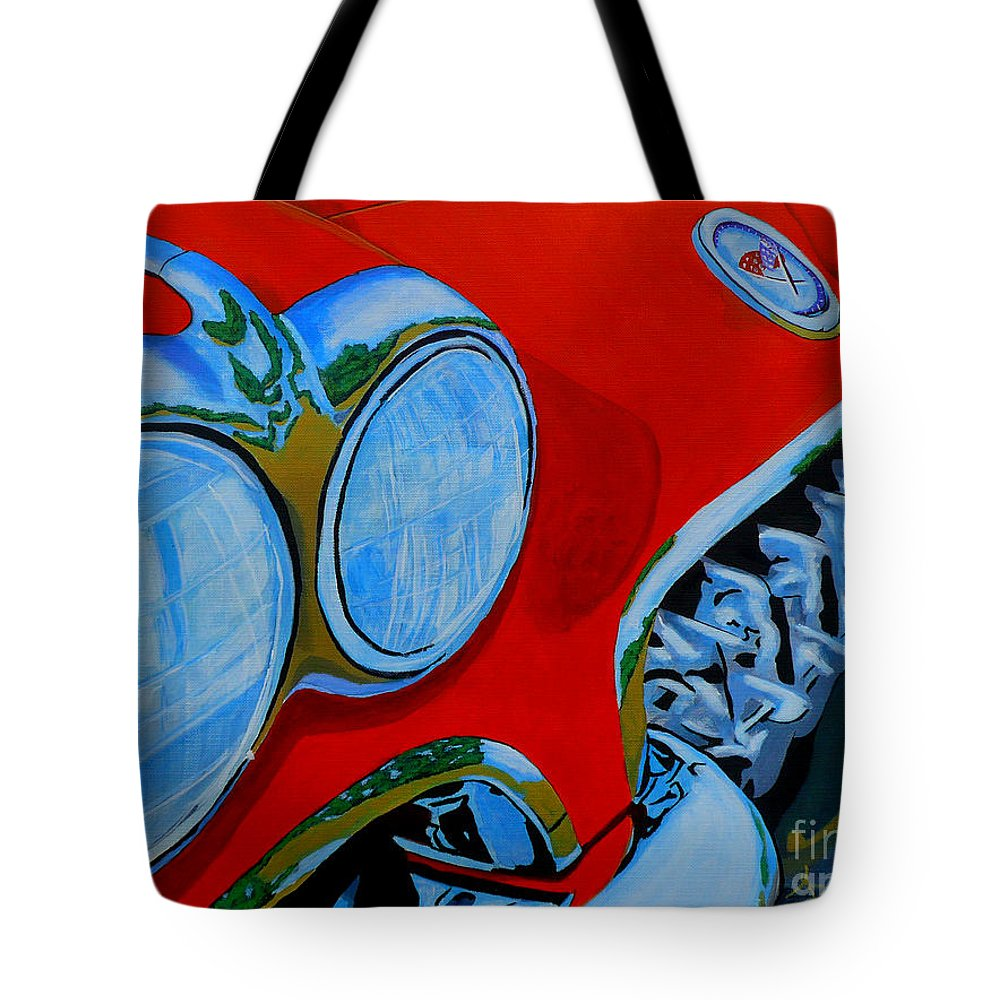Corvette Tote Bag featuring the painting 58 Vette by Anthony Dunphy