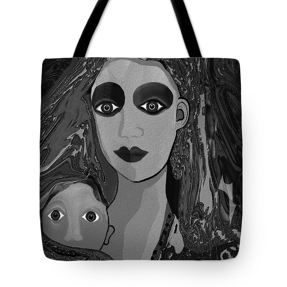 Mother Child Love Tote Bag featuring the digital art 594 - Silent Child ... by Irmgard Schoendorf Welch