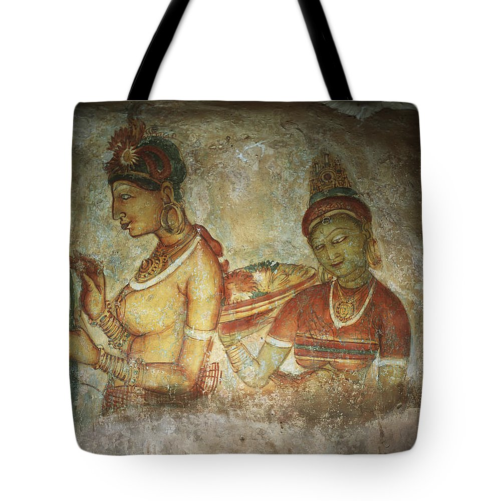 Sketch Tote Bag featuring the photograph 5th Century Cave Frescoes by Chris Caldicott