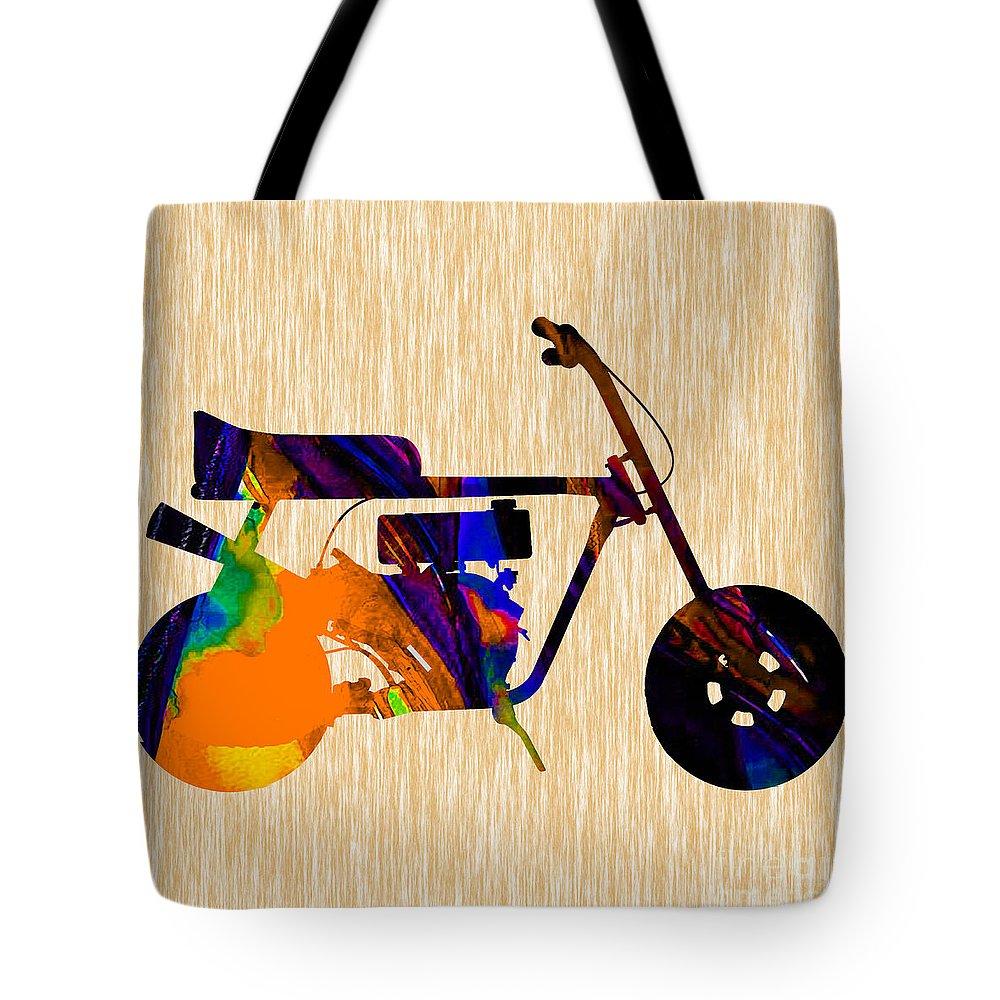Mini Bike Tote Bag featuring the mixed media 1960s Mini Bike by Marvin Blaine
