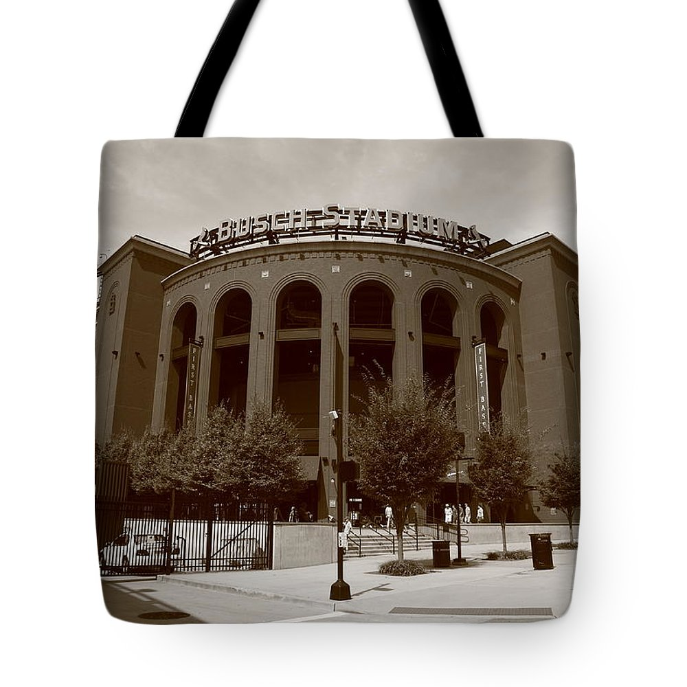 America Tote Bag featuring the photograph Busch Stadium - St. Louis Cardinals by Frank Romeo