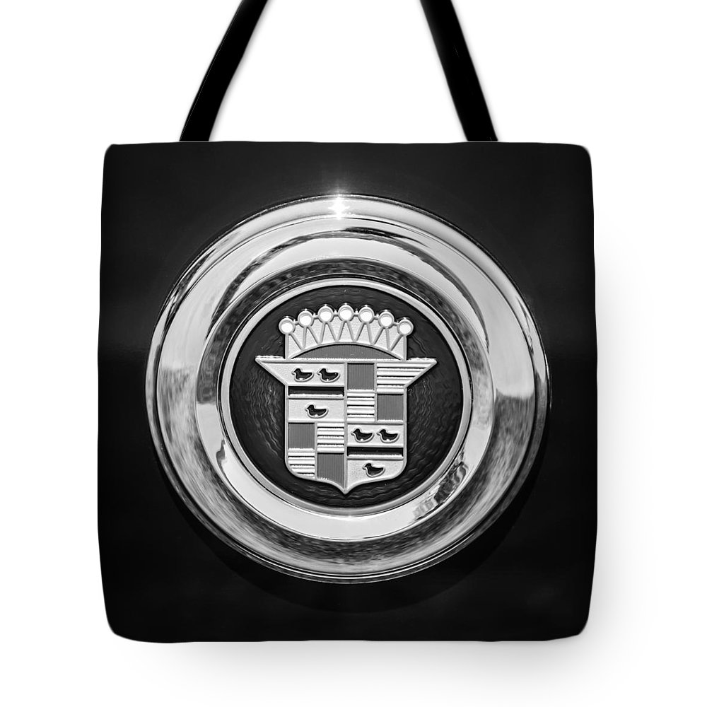 Cadillac Emblem Tote Bag featuring the photograph Cadillac Emblem by Jill Reger