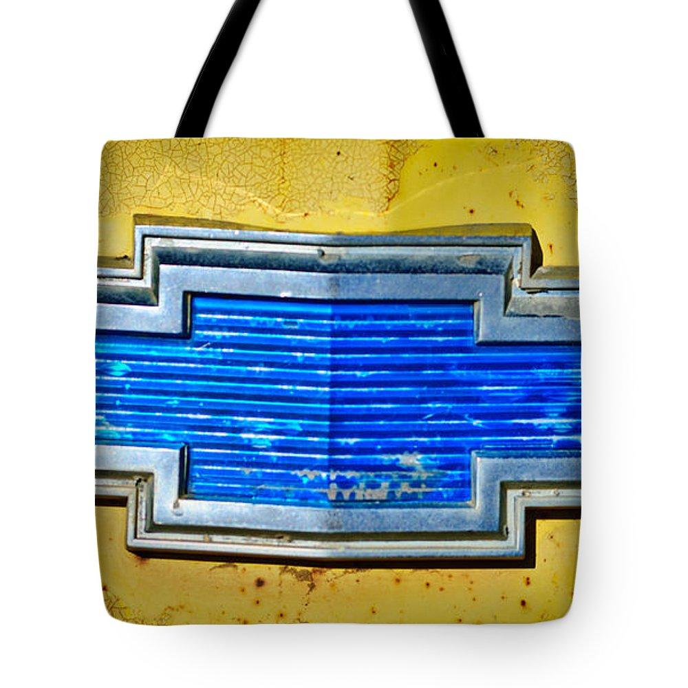 Chevrolet Emblem Tote Bag featuring the photograph Chevrolet Emblem by Jill Reger
