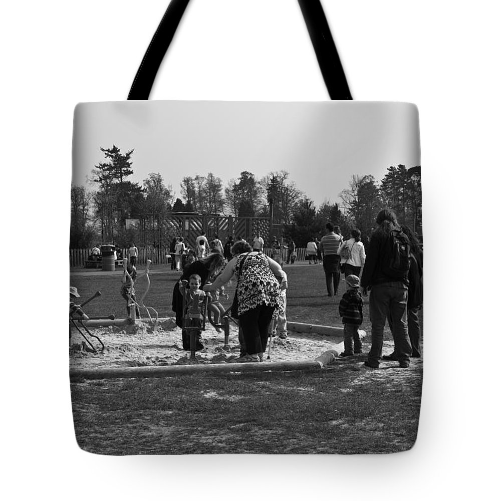 Adventure Park In Scotland Tote Bag featuring the photograph Children Playing Inside The Blair Drummond Safari Park by Ashish Agarwal