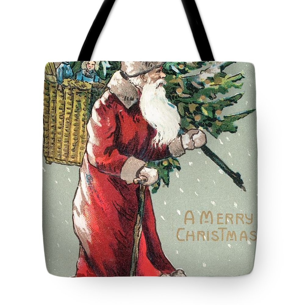 Santa Claus Tote Bag featuring the painting Christmas Card by English School
