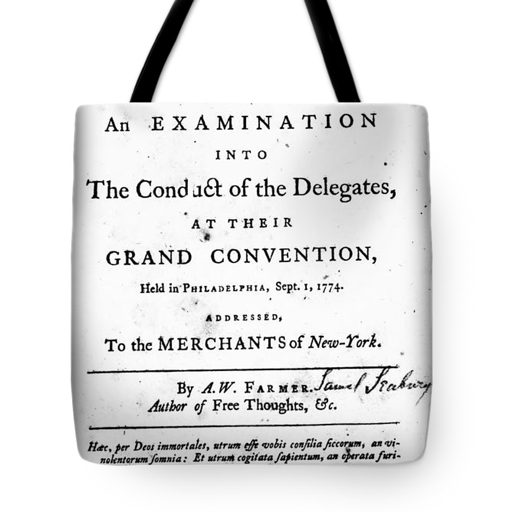 1774 Tote Bag featuring the photograph Continental Congress, 1774 by Granger