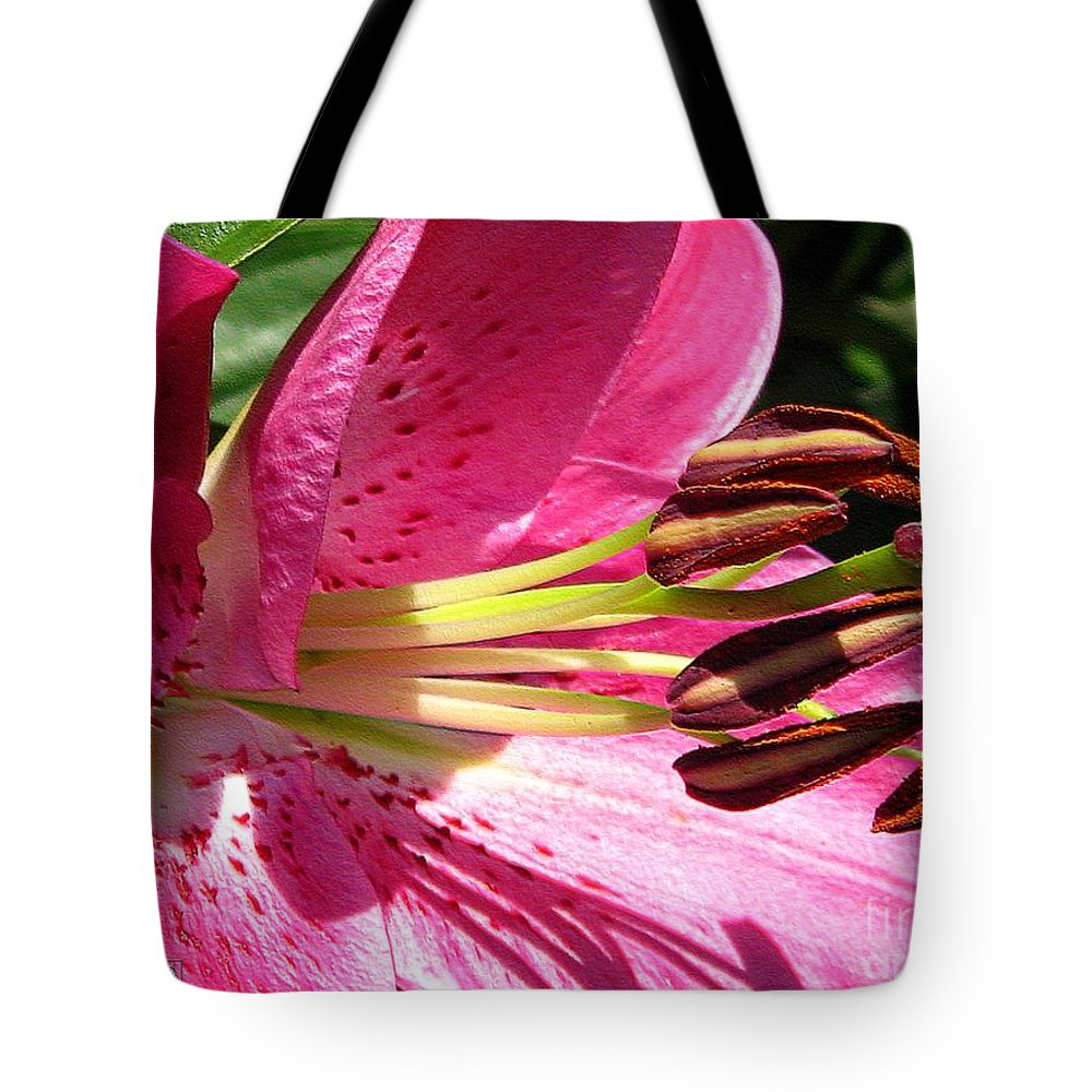 Dwarf Tote Bag featuring the photograph Dwarf Oriental Lily Named Farolito by J McCombie