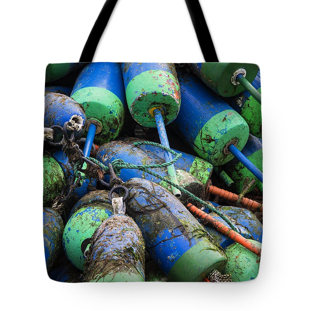 Maine Tote Bag featuring the photograph Lobster Buoys by John Greim