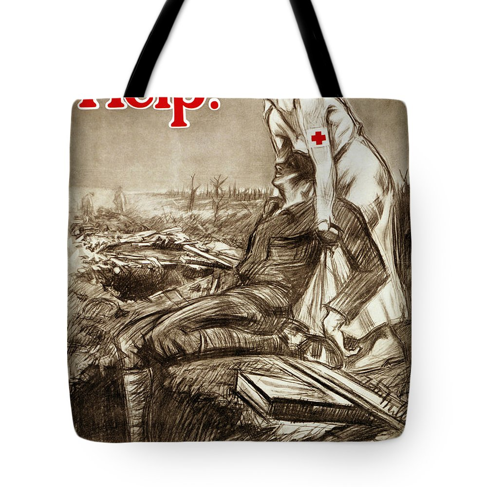 1917 Tote Bag featuring the photograph Red Cross Poster, C1917 by Granger