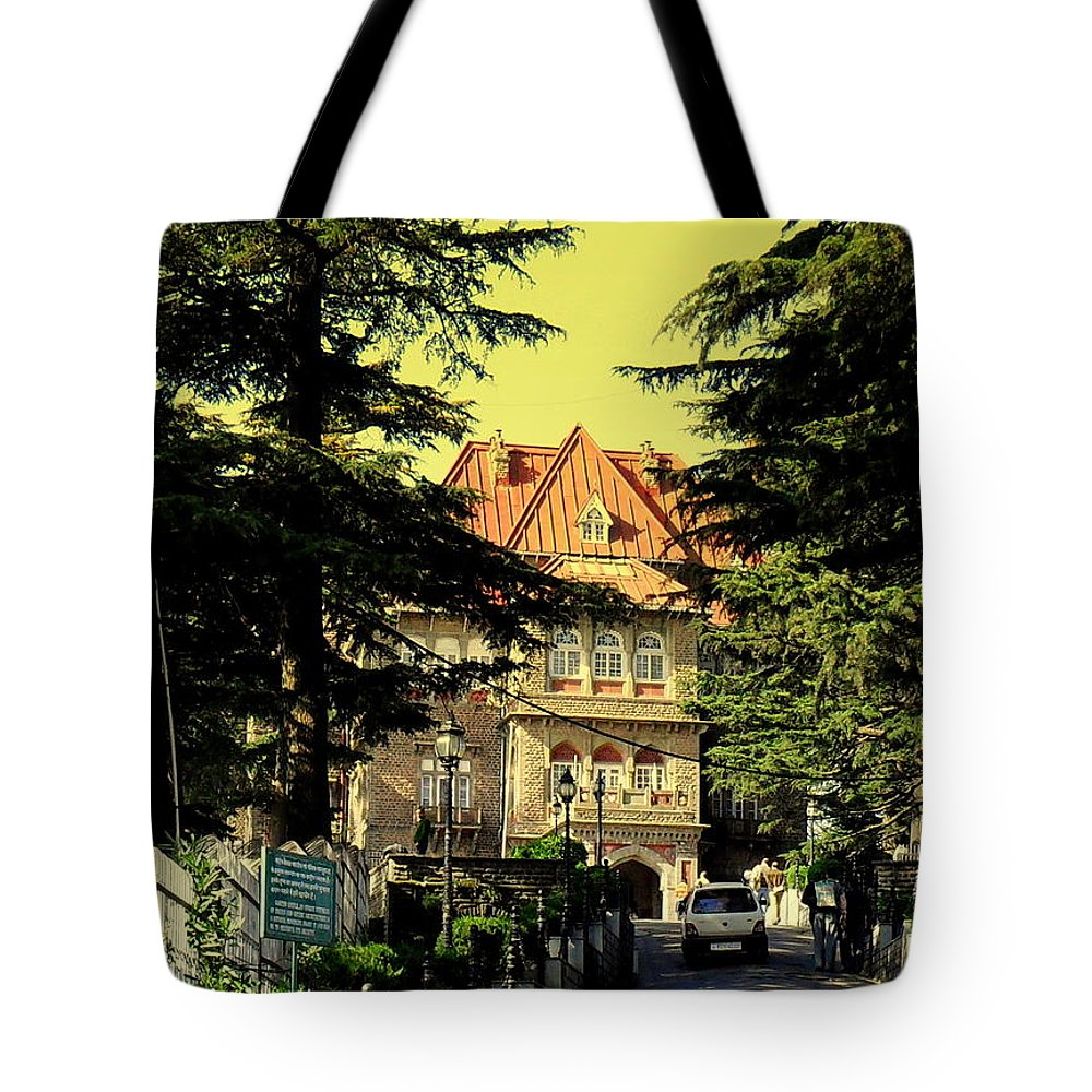 Wallpaper Buy Art Print Phone Case T-shirt Beautiful Duvet Case Pillow Tote Bags Shower Curtain Greeting Cards Mobile Phone Apple Android Nature Shimla Himachal Pradesh India Mall Road Hills Hill Station Salman Ravish Khan Tote Bag featuring the photograph Shimla by Salman Ravish