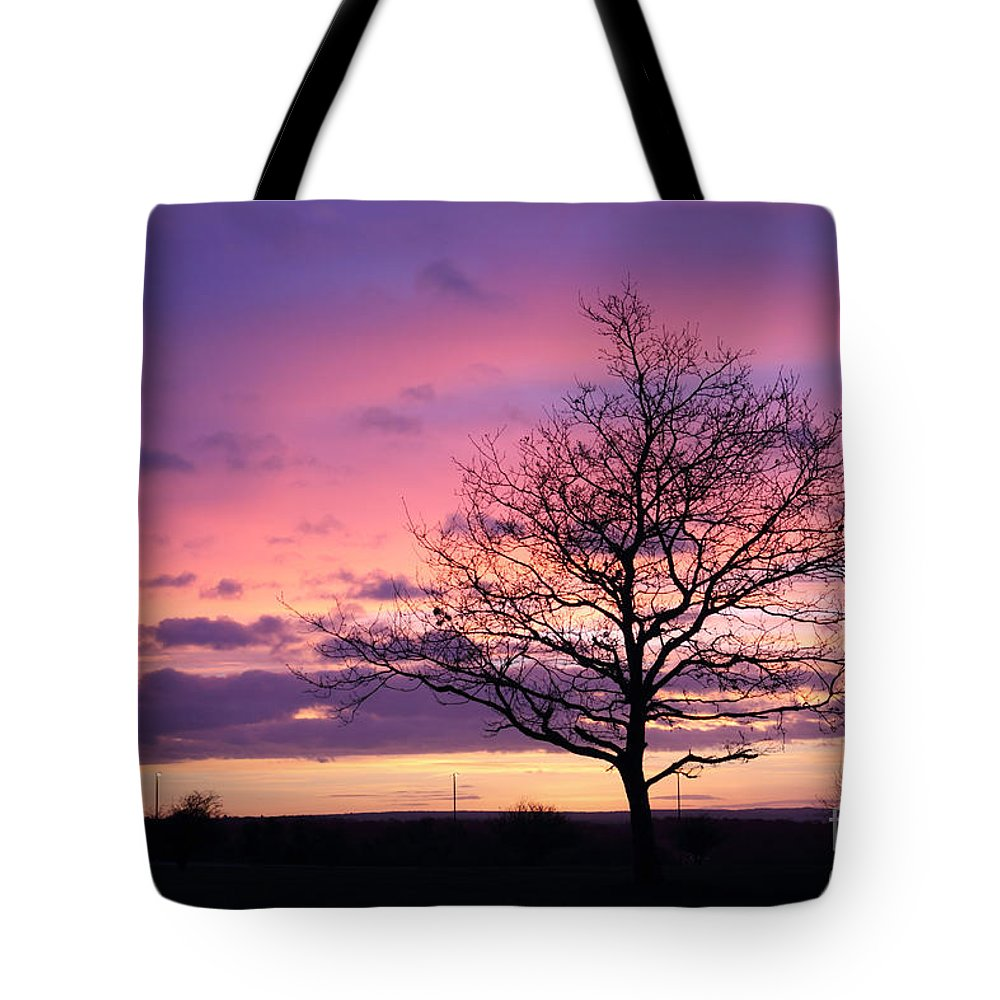 Spectacular Sunset Epsom Downs Surrey Uk Dusk Pink Sky Twilight Tree Silhouette Orange Sun Set Down Tote Bag featuring the photograph Spectacular Sunset Epsom Downs Surrey Uk by Julia Gavin
