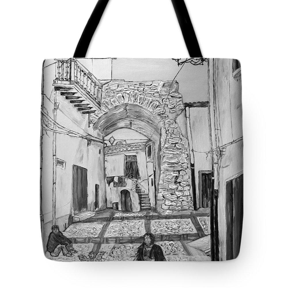 Drawing Tote Bag featuring the painting Sutera Rabato Antico by Loredana Messina