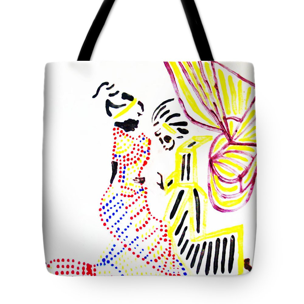 Jesus Tote Bag featuring the painting The Annunciation by Gloria Ssali