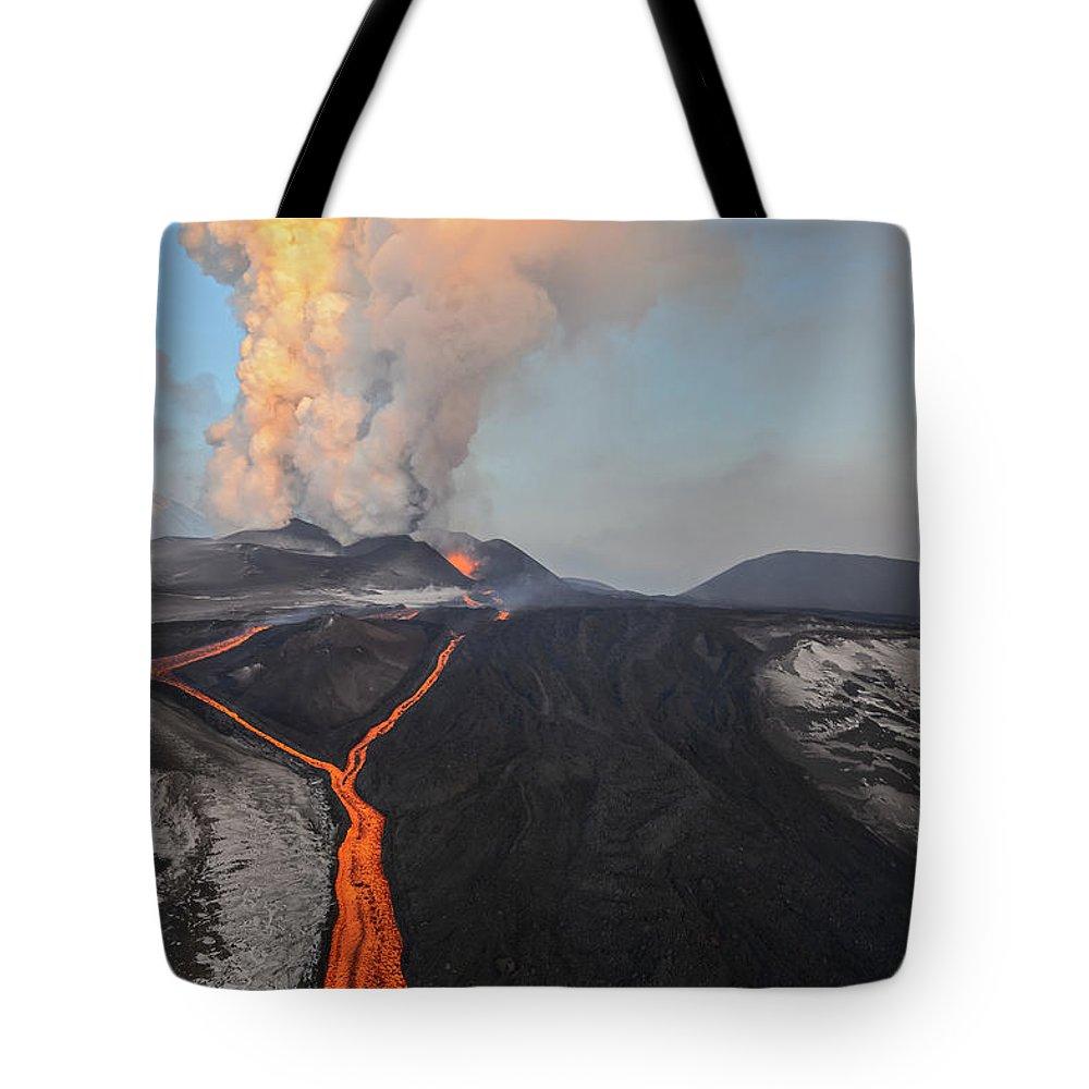Feb0514 Tote Bag featuring the photograph Tolbachik Volcano Erupting Kamchatka by Sergey Gorshkov