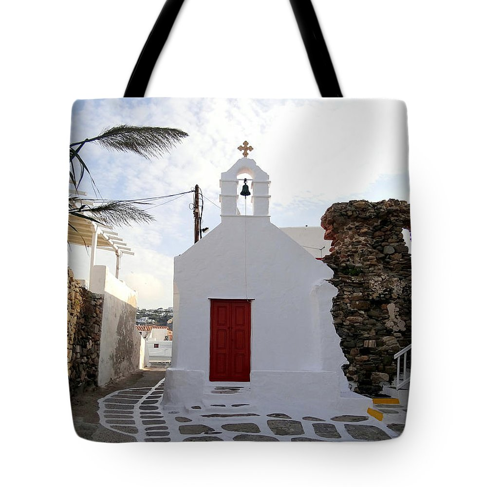 The Greek Isles Tote Bag featuring the photograph Views From Mykonos Greece by Richard Rosenshein