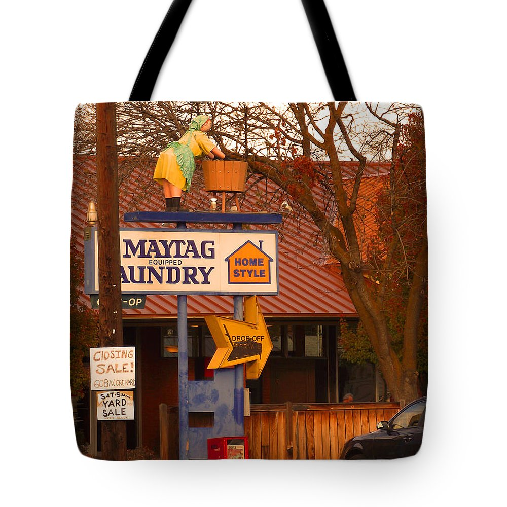 Creative Tote Bag featuring the photograph 60's Maytag Washer Woman by Mike and Sharon Mathews