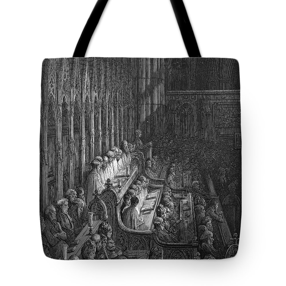 1872 Tote Bag featuring the drawing London by Gustave Dore
