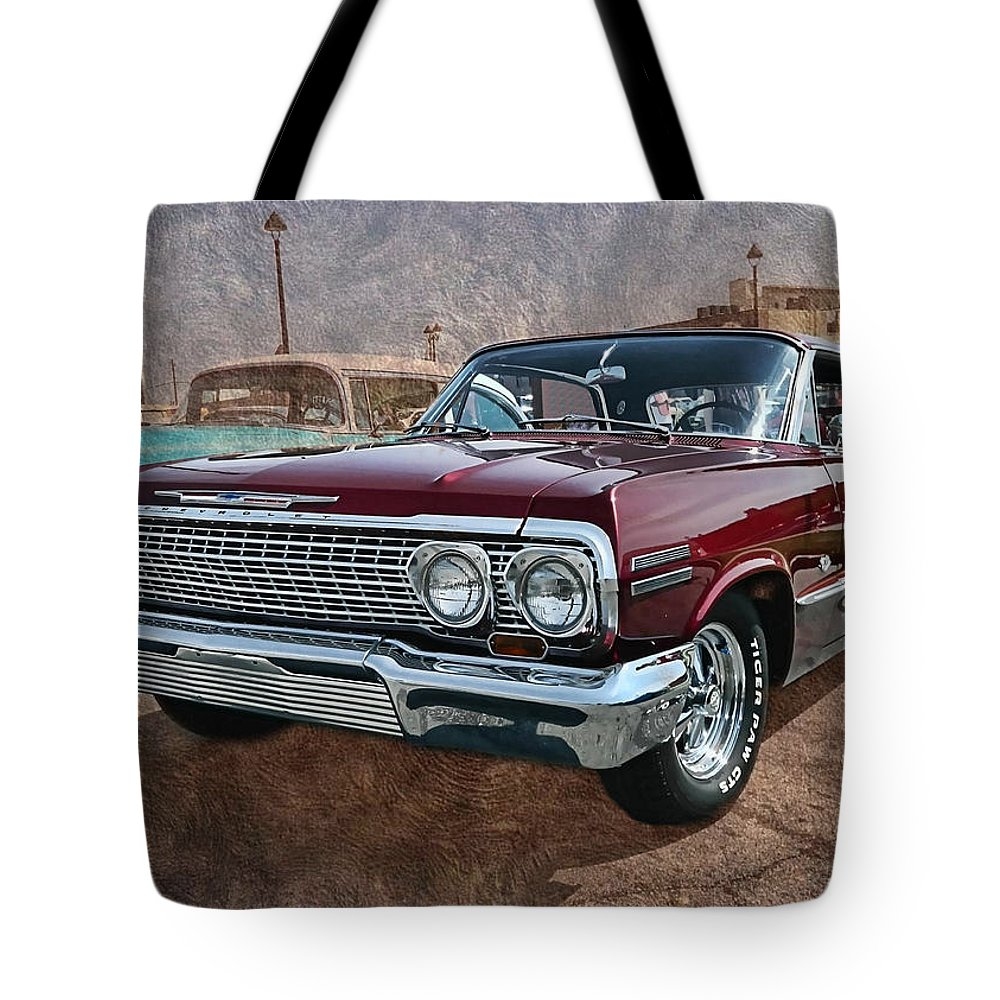Victor Montgomery Tote Bag featuring the photograph '63 Impala by Victor Montgomery