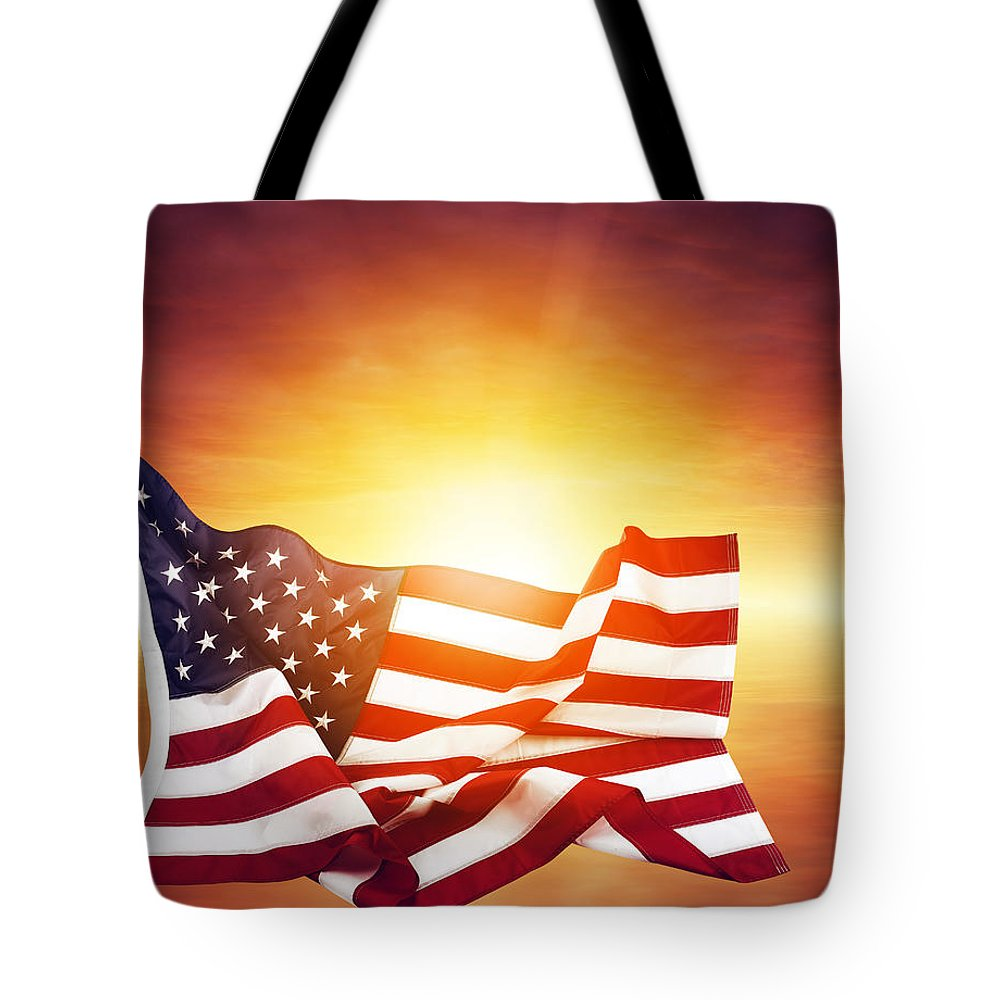 Sun Tote Bag featuring the photograph American Flag by Les Cunliffe