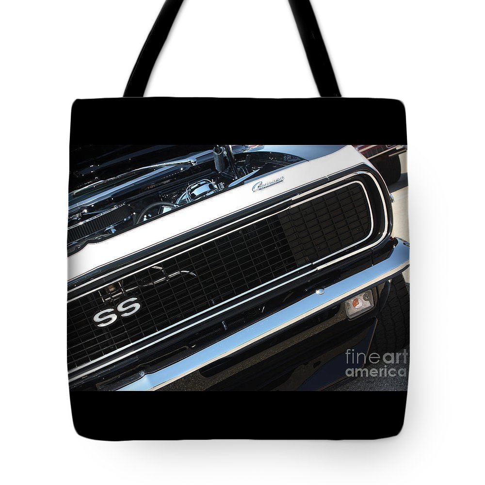 1967 Tote Bag featuring the photograph 67 Black Camaro Ss Grill-8039-2 by Gary Gingrich Galleries
