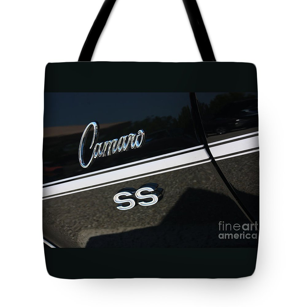 1967 Tote Bag featuring the photograph 67 Black Camaro Ss Logo-8024 by Gary Gingrich Galleries