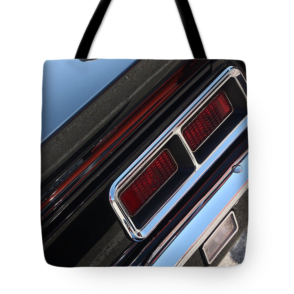 1967 Tote Bag featuring the photograph 67 Black Camaro Ss Tail Light-8020 by Gary Gingrich Galleries