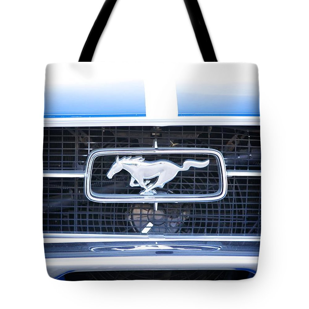 1967 Mustang Fastback Photo Photographs Tote Bag featuring the photograph 67 Mustang Emblem by Brooke Roby