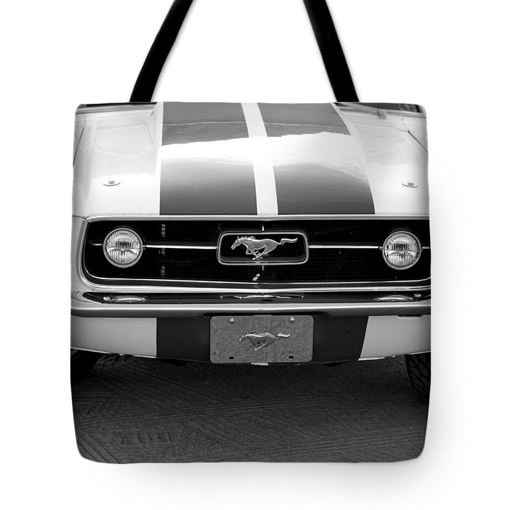 1967 Mustang Fastback Photo Photographs Tote Bag featuring the photograph 67 Mustang Front In Black by Brooke Roby