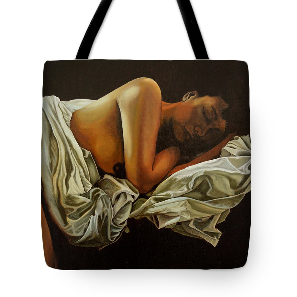 Semi-nude Tote Bag featuring the painting 7 Am by Thu Nguyen