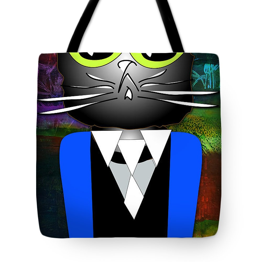 Kitten Paintings Mixed Media Mixed Media Mixed Media Tote Bag featuring the mixed media Cool Cat by Marvin Blaine