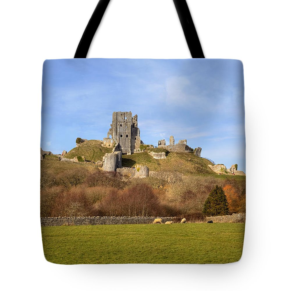 Corfe Castle Tote Bag featuring the photograph Corfe Castle by Joana Kruse